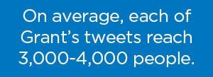 On average, each of Grant's tweets reach 3,000-4,000 people.