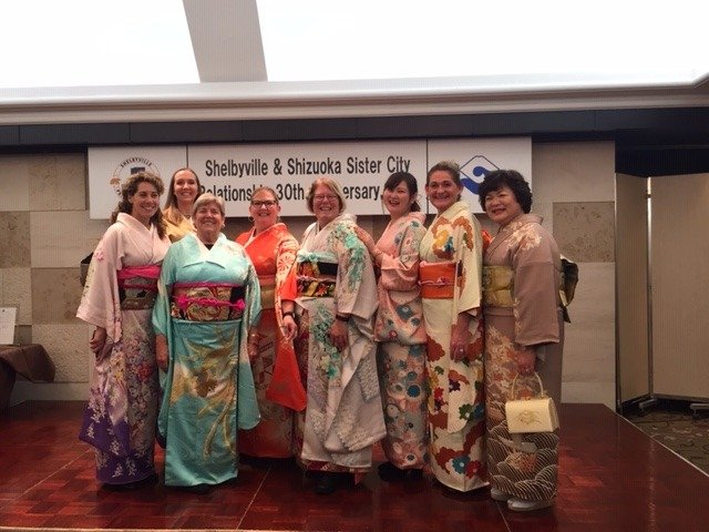 Wearing authentic Japanese Kimono's at the 30th Celebration Party